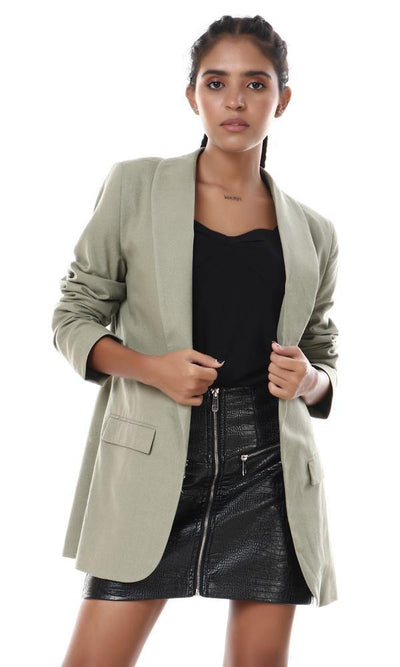 56532 Shawl Lapel Slub Olive Semi-Formal Blazer - Ravin