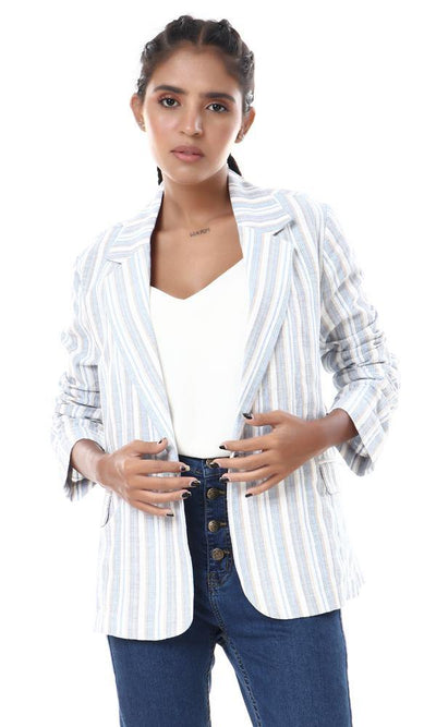 56534 Textile Striped Semi-formal Blazer - Light Blue , Beige & White - Ravin