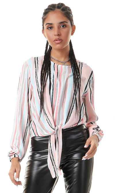 56547 Pastel Colors Striped Blouse With Front Tie