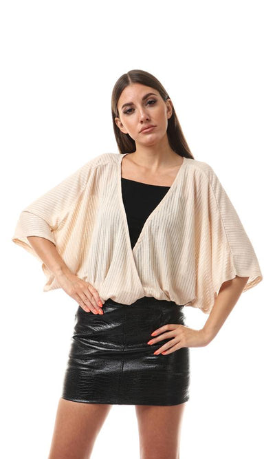 56552 Elastic Hem Semi-Sheer Ribbed Top - Beige - Ravin