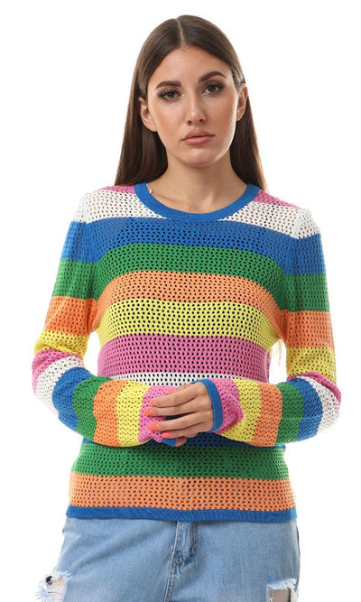 56558 Perforated Colorful Striped Slip On Pullover - Ravin