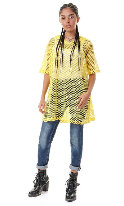 56584 Hooded Neck Yellow Perforated T-shirt