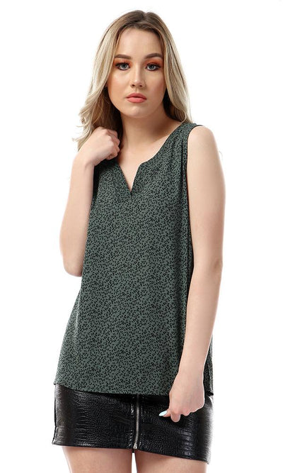56591 Self Patterned V-neck Sleeveless Dark Green Blouse
