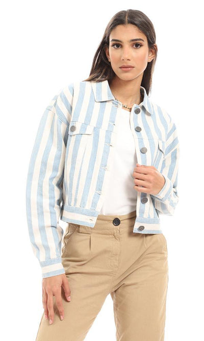 56634 Bi-Tone Awning Stripes Baby Blue & White Denim Jacket