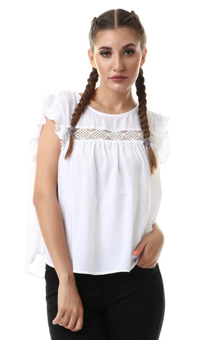56638 Ruffle Sleeves Back Key Hole Top - White - Ravin