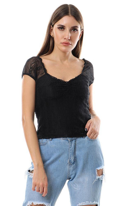 56656 Feminine Wide V-neck Lace Top - Black - Ravin
