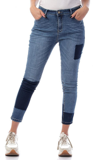 56701 Two-Tone Casual Solid Light Blue Jeans - Ravin