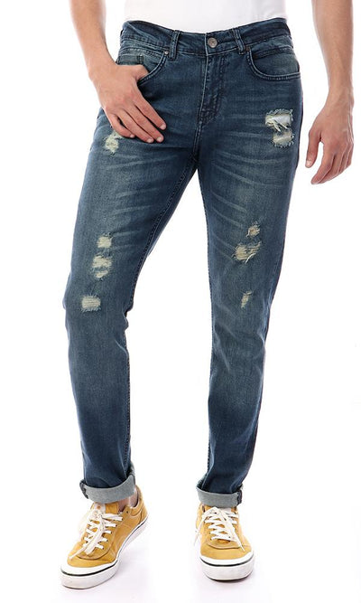 56721 Front Ripped Slim Fit Dark Blue Jeans - Ravin