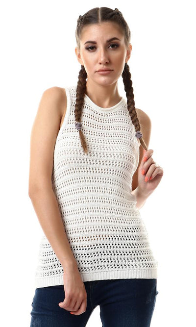 56722 Perforated Sleeveless Knitted Sweater - White