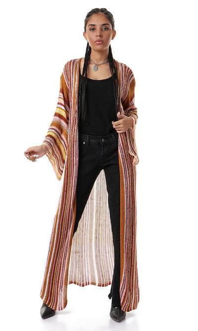 56725 Knitted Stripes Multicolour Maxi Cardigan - Ravin