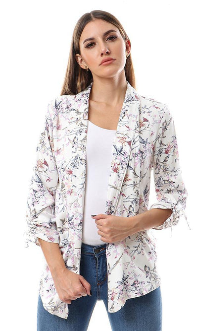56729 Shawel Lapel Floral Casual Jacket - Off White - Ravin