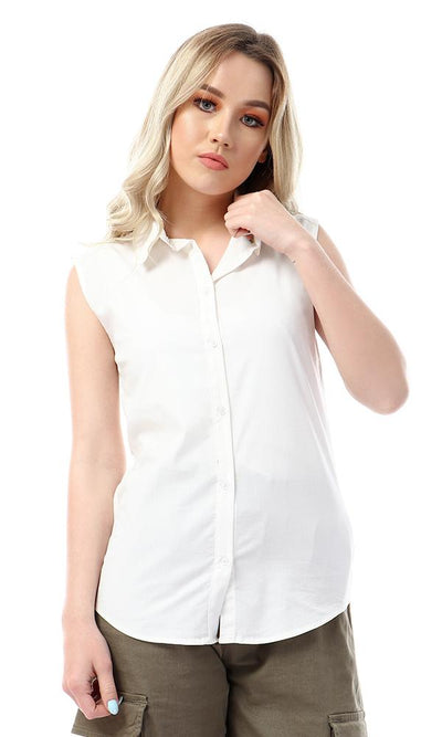 56738 Elegant Sleeveless Turn Down Collar White Shirt