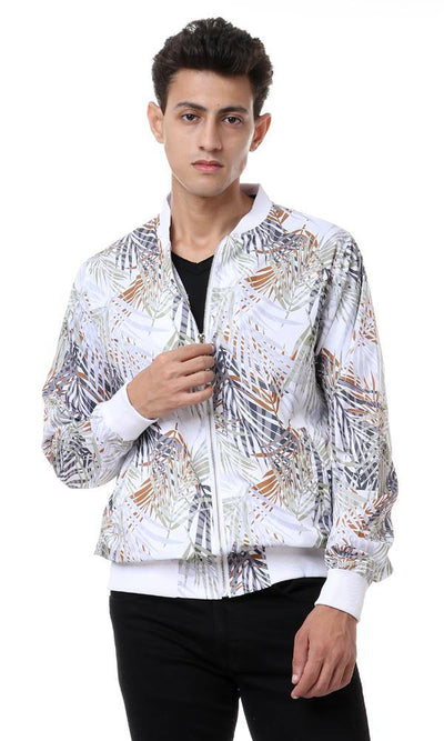 56754 Boom Boom Zipped Round Neck Jacket - White - Ravin