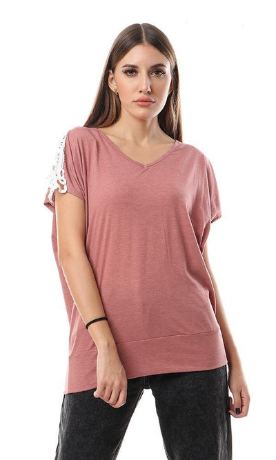 56802 Lace Shoulders Deep V-Neck Tee - Copper Brown - Ravin