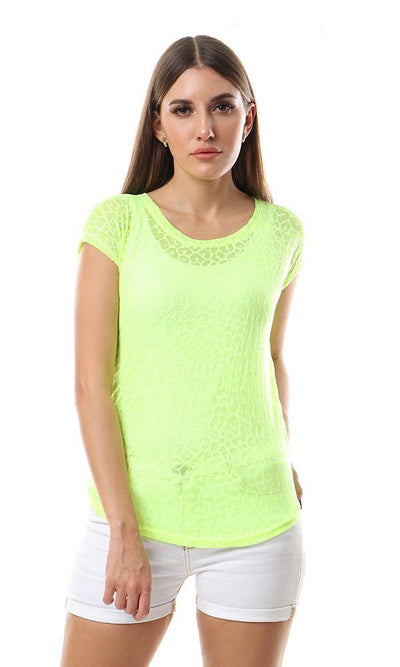 56822 Cool Self Patterned Cheer Neon Green Top - Ravin