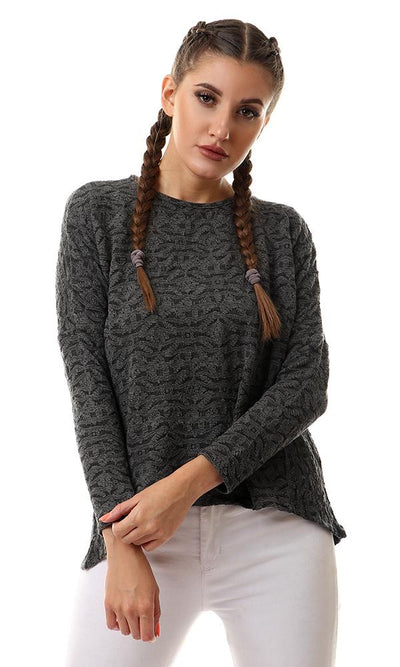 56844 Self Pattern Hi-Low Long Sleeves Top - Charcoal Grey - Ravin