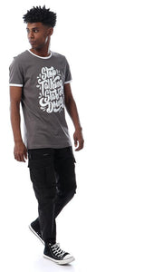 56870 Round Printed Short Sleeves Dark Grey T-shirt - Ravin