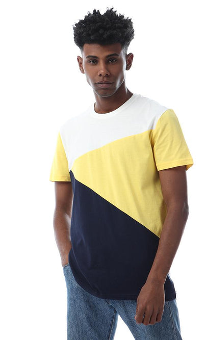 56873 Simple Tri-tone Half Sleeves Navy Blue , White And Yellow T-shirt - Ravin
