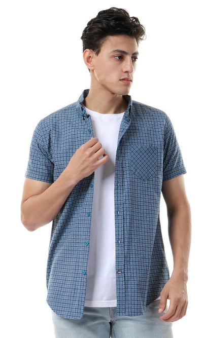 56884 Plaids Short Sleeves Teal & Navy Blue Shirt - Ravin