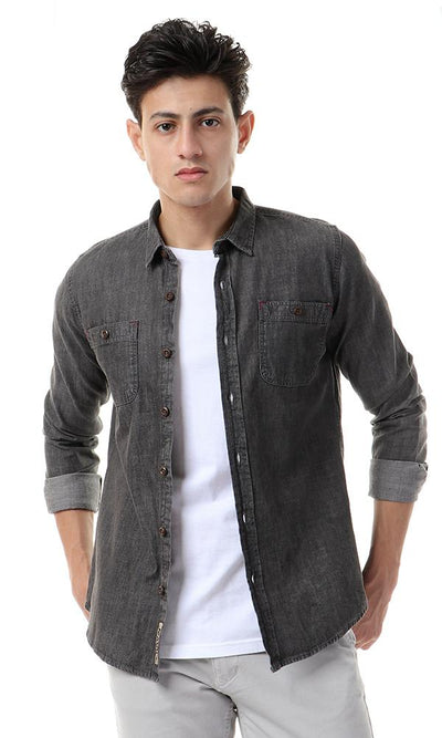 56886 Front Pockets Long Sleeves Dark Grey Denim Shirt - Ravin