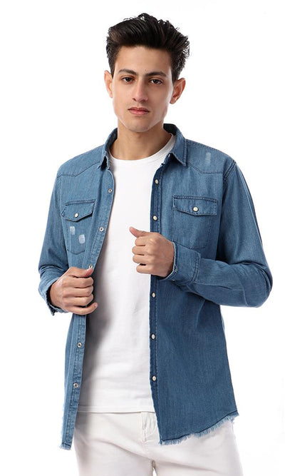56895 Cairokee Fring Trim Full Sleeves Denim Shirt - Medium Blue - Ravin