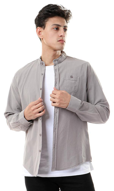 56896 Mandarin Collar Long Sleeve Shirt - Grey