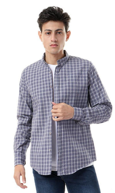 56899 Long Sleeves Grey & Navy Blue Plaids Shirt - Ravin