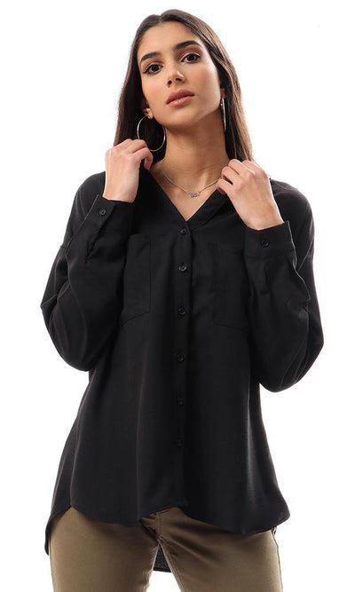 56912 Front Pockets Loose Black Shirt - Ravin