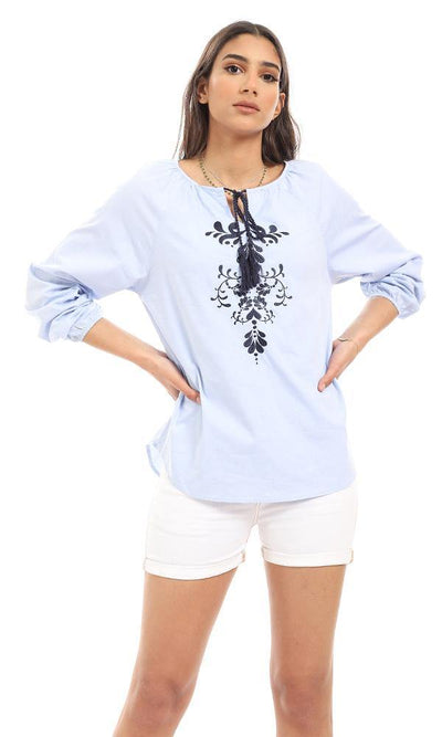 56913 Embroidered Rayon Full Sleeves Blouse - Baby Blue