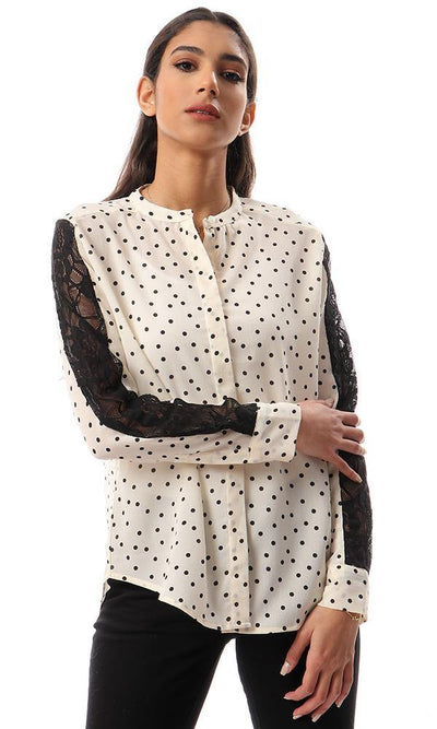 56914 Polka Dots Shirt With Lace Sleeves - Cream
