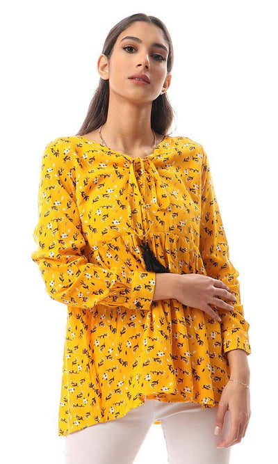 56922 Floral Lace Up Neck Mustard Blouse