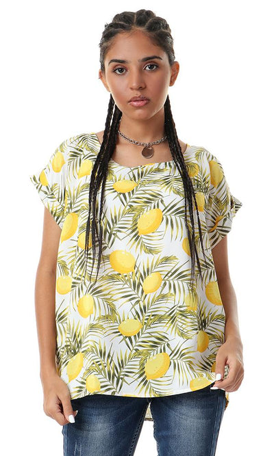 56940 Lemon Patterned Roll Up Sleeves Yellow Top