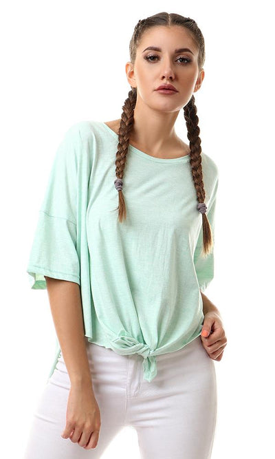 56992 Loose Front Tie Heather Light Green Tee - Ravin