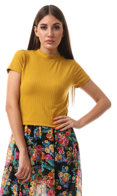 56994 Funnel Neck Cropped Mustard Top - Ravin