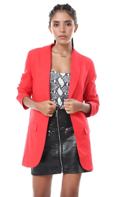 57010 Notched Lapel Textile Red Blazer - Ravin