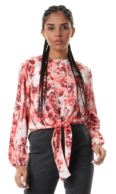 57021 Tie-Front Floral Full Sleeves Top - Red & White