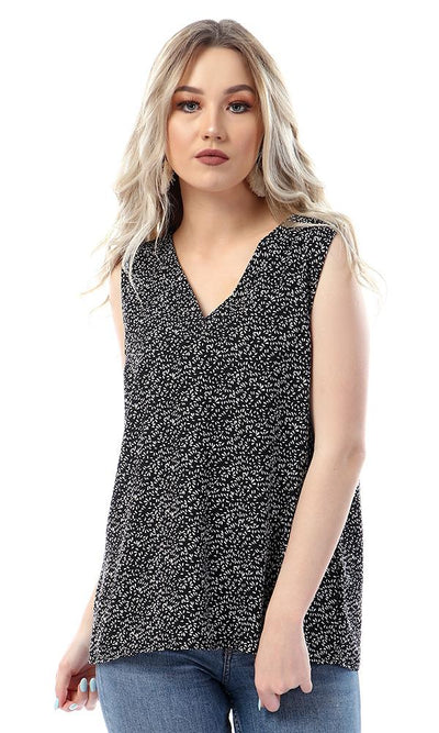 57029 Chic Self Patterned Sleeveless Black Blouse