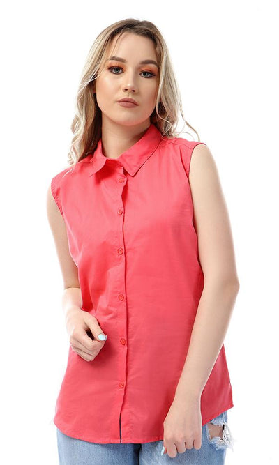 57036 Simple Sleeveless Buttoned Watermelon Shirt