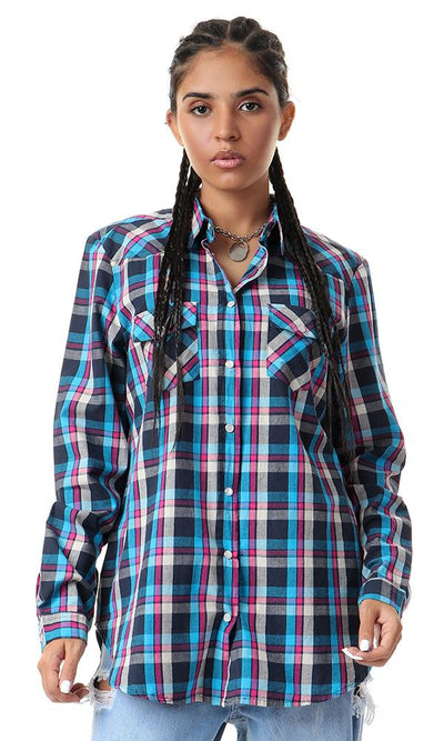 57068 Plaids Press Buttons Causal Navy Blue Shirt