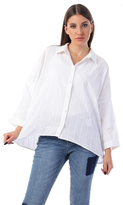 57076 Textured Full Sleeves Buttoned White Shirt - Ravin