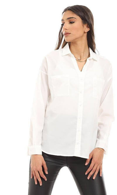 57078 Formal Full Buttoned Polyester Shirt - White