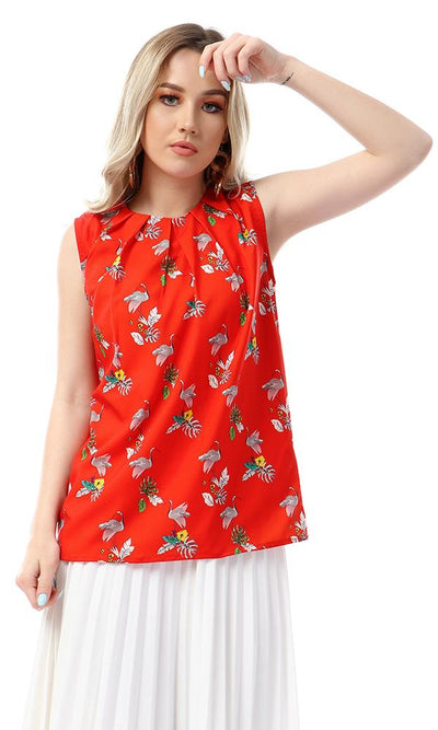 57095 Flamingo Pattern Sleeveless Red Blouse