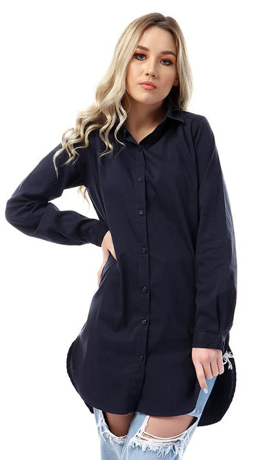 57113 Simple Basic Buttoned Navy Blue Shirt