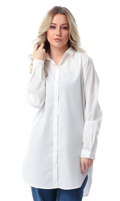 57114 Long Sleeves Off-White Long Shirt With Classic Collar