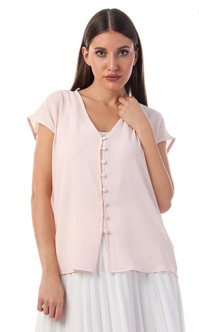 57121 Buttoned V-Neck Elegant Shirt - Powder Pink - Ravin