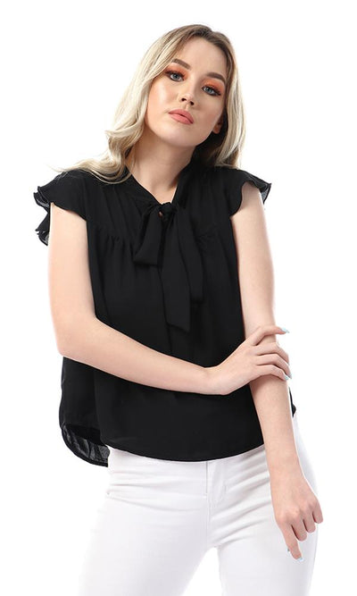 57123 Simple Lace Up Neck Cape Sleeves Black Blouse - Ravin
