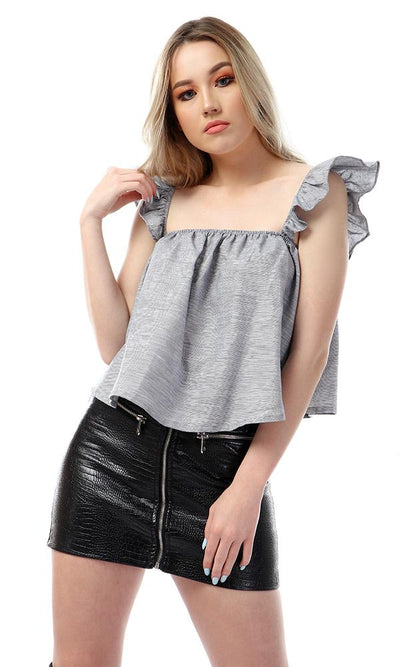 57129 Feminine Sleeveless Heather Grey Crop Top - Ravin
