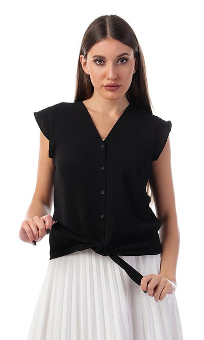 57133 Tie-Front Buttoned V-Neck Black Shirt - Ravin