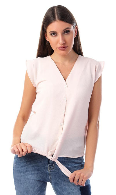 57134 Buttoned V-Neck Shirt With Front Tie - Powder Pink - Ravin