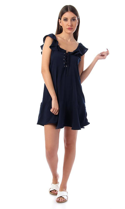 57140 Ruffled Tie-Front Navy Blue Dress - Ravin
